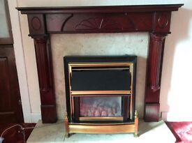 Fire suround with back plate and hearth. Free gas fire.