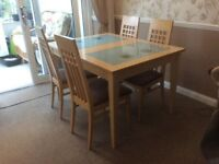 Beech colour extending dining table and 4 chairs