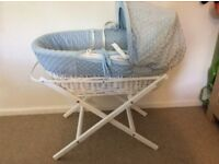 Brand new Moses basket with stand used few times only