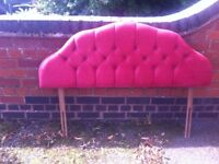 Padded and buttoned headboard for standard double bed.