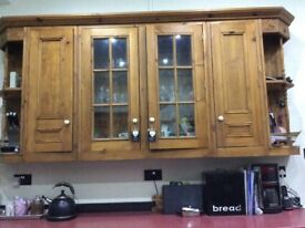 Kitchen units lovely solid pine handmade with glass cabinet