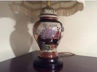 Solid Dark Wood Base/ Ceramic Lamp.