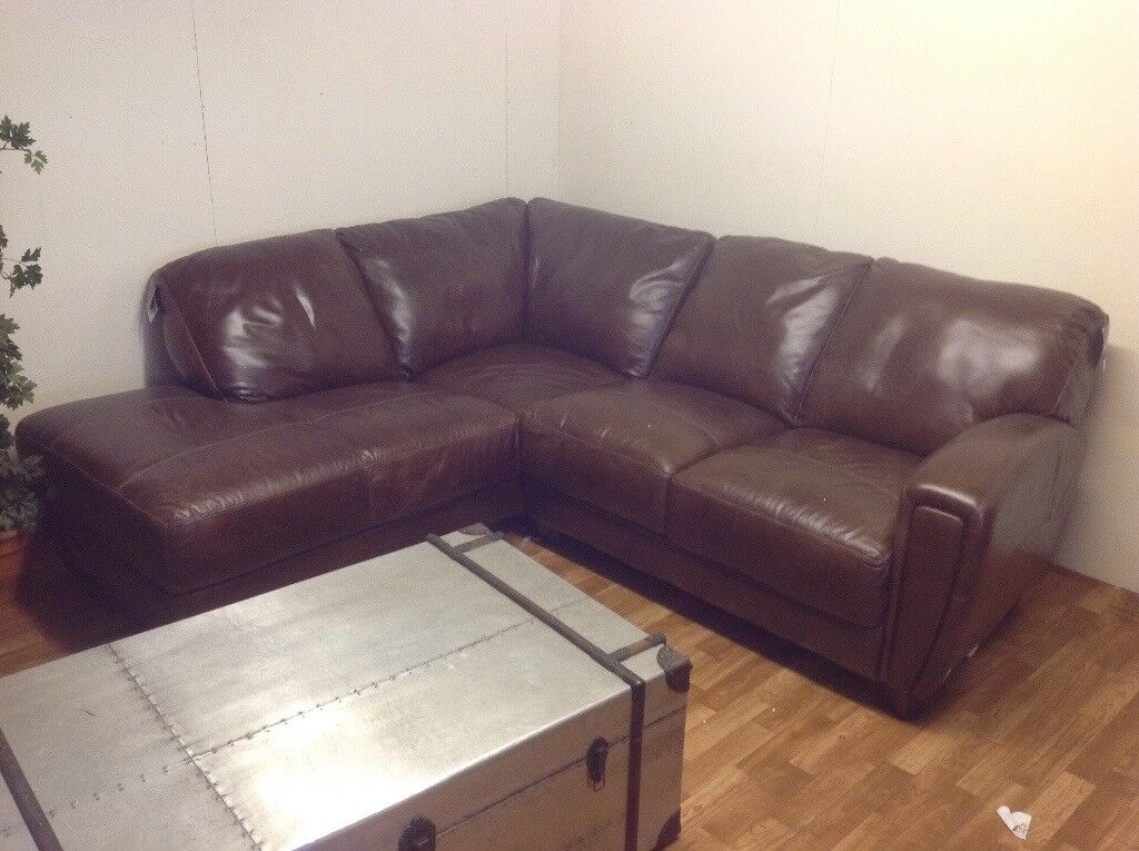 Brown Leather Lazyboy Corner Sofa In Belfast City Centre