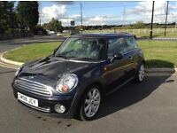 Mini copper 1.6 petrol 2008 black 3 dr full leather panaromic electricr oof mot may 2017