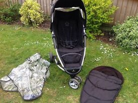 BLACK PETITE STAR ZIA COMPACT FOLDING PUSHCHAIR BUGGY WITH FOOTMUFF & RAINCOVER