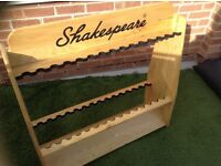 Genuine wood Shakespeare display rod stand - holds 30 rods