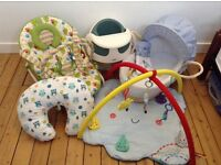 Massive baby bundle bouncer, Moses basket, playgym, BF pillow, M&P baby snug