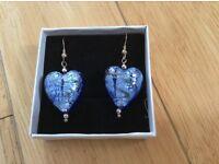 Blue heart dangly earrings