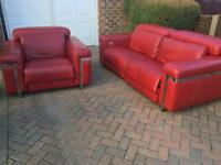 Italian Leather Electric push button Recliner sofa and matching electric recliner chair