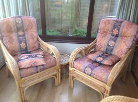 Cane Furniture Set (2 chairs + 2-seater sofa) for Conservatory