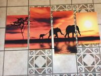 African elephants pictures on canvas