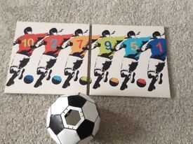 NEXT boys bedroom football canvas and lampshade