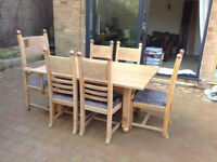 UNIQUE Handmade Solid Oak Antique Dining Table + 6 Oak Chairs - Refectory ~Delivery~