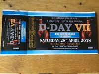 Boxing tickets - D-day, at the Lancastrian suite - dunston - 28th April