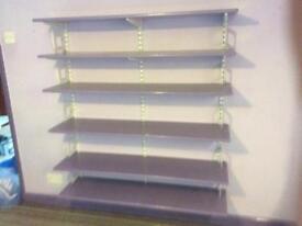 Adjustable shelving with purple shelves