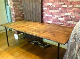 """TABLE 76"""" X 33"""" - RECLAIMED WOOD - LEGS COME OFF FOR TRANSPORTING - EXCELLENT QUALITY - DELIVERY"""