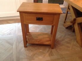 Solid oak small table with drawer