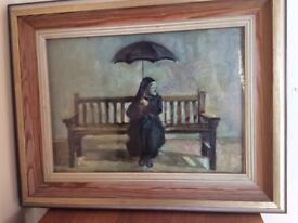 Mid 20th C Original Signed Oil Painting 'Under The Gamp' by Margaret McMillan