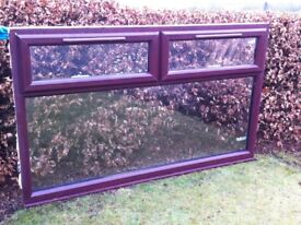 Rosewood on white interior upvc double glazed window with two top hoppers