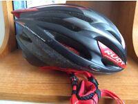 Rudy cycle helmet, racing red and black