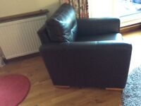2 Seater Brown Leather Sofa & 3 Matching Chairs