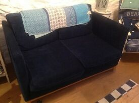 Sofa modern two seater French navy