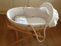 Moses Basket, Stand and Bedding. Neutral colour