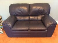 2-seater leather sofa, blue, excellent condition