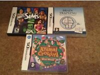 Nintendo DS games Animal Crossing, Sims 2 & Brain Training