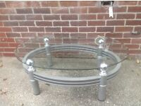 Glass coffee table and tv stand excellent condition for sale