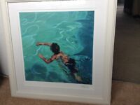 Lovely signed print by Anna Oren - Boy Swimming