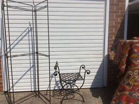 Wrought iron stool and screen frame. Artisan crafted. Suitable for indoors or outside.