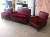 ANTIQUE REUPHOLSTERED LEATHER THREE PIECE SUITE ~~ SOFA & CHAIRS ~~ CAN DELIVER TO WEST MIDLANDS