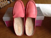 Ladies leather moccasin style mule in salmon pink UK size 3/EU 36