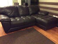 Italian leather corner sofa & 2 seater
