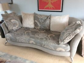 Two lovely Sofas and cushions . Grey with cream patterning