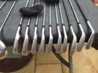 A variety of clubs plus a golf bag ( all zips in good order ) ( Plus golf trolley. See photos