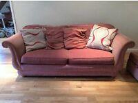 3 piece sofa suite with pouf.