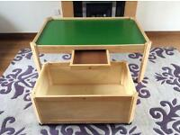 Toy table with under table storage