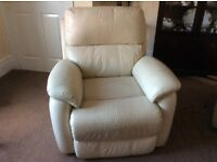 Leather recliner 3 piece sofa Cream/Ivory