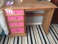 Pine dressing table with pine mirror and storage seat
