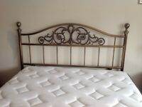 Perfect condition double brushed metal ornate headboard