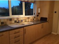 Maple kitchen units for sale, including fridge freezer, oven and hob.