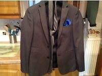 "4 piece suit by SLATERS 165. Size 34""small jacket/waistcoat & 28"" trousers. Matching shirt size 14."