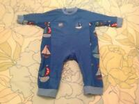 Splash About UV All-in-One Sun Protection Suit, size 3 to 6 months, Set Sail design.