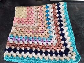 Crochet Baby Blanket completely random colours cot/pram/car/moses basket 27x27in