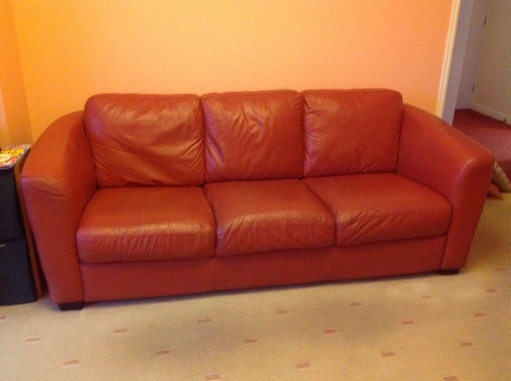 Terracotta Leather 3 Seater 2 Sofas
