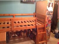Childrens pine cabin bed and pull out desk