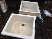 2 ANTIQUE BELFAST SINKS FOR SALE WITH THREE PEDISTALS,JUST NEED A GOOD CLEAN,DUNFERMLINE CAN DELIVER