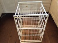 Elfa White Storage System with slide out wire draws ideal for laundry, toys, books,veg or paperwork